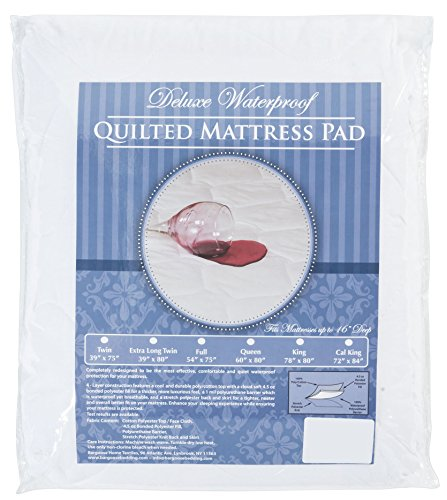 The Allergy Store Deluxe Quilted Waterproof Fitted Mattress Pad, 4-Ply Twin White