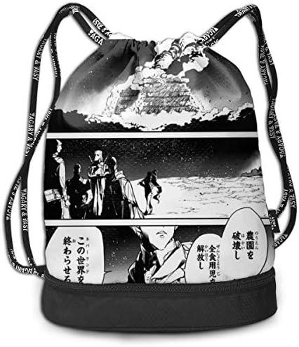 ナップサック約束のネバーランド (4) メンズ レディース 兼用 アウトドア ジムサック バッグ 軽量 スポーツ 収納バッグ 登山 自転車 防水仕様 バッグ 巾着袋 通学・通勤・運動 ・旅行に最適 アウトドア 収納バッグ