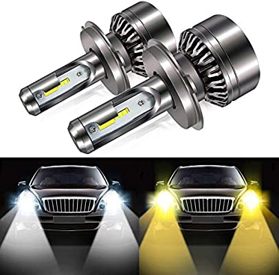 H4 9003 Led Headlight Bulb, 8000LM Extremely Bright Dual Color (6000K/3000K) Anti-Flicker HB2 Hi/lLo Conversion Kit Halogen Bulbs Replacement - Cool ...