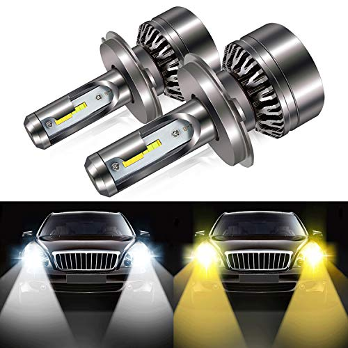 - H4 9003 Led Headlight Bulb, 8000LM Extremely Bright Dual Color (6000K/3000K) Anti-Flicker HB2 Hi/lLo Conversion Kit Halogen Bulbs Replacement - Cool White/Golden Yellow - 2 Years Warranty