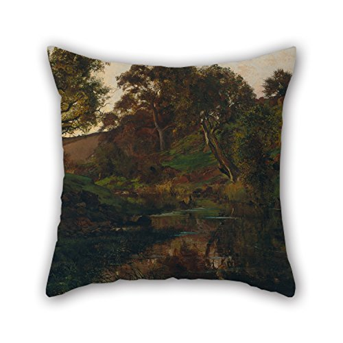 Biekxrso Cushion Covers of Oil Painting Julian Ashton - Evening, Merri Creek for Birthday Bench Teens Home Theater Floor Couch 18 X 18 Inches