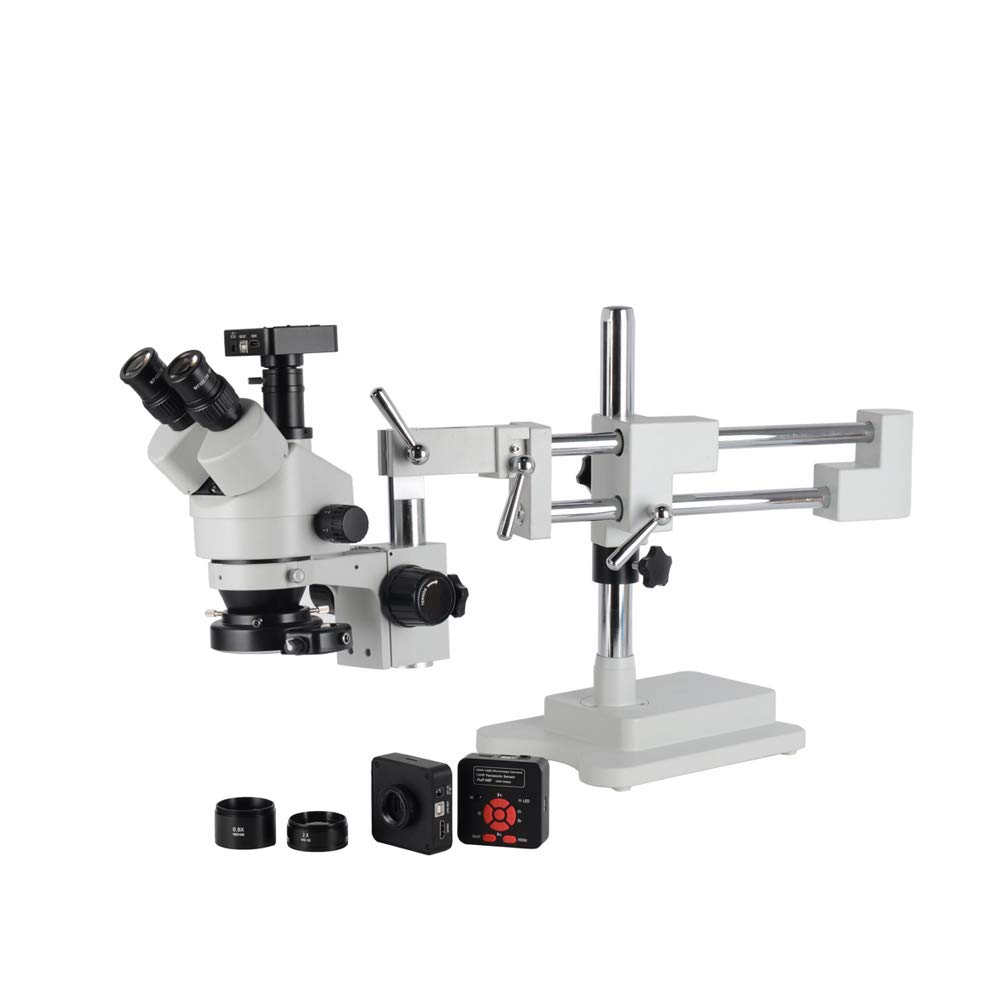 HAYEAR HD 16MP Camera 3.5X-90X Magnification Simul-Focal Trinocular Stereo Microscope with 0.5X/2X Barlow Lens 144led Illumination Double-Arm Boom Stand by HAYEAR