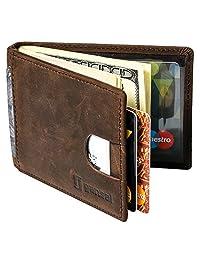 GANSAL Leather Wallet for Men with Money Clip, Dark Brown