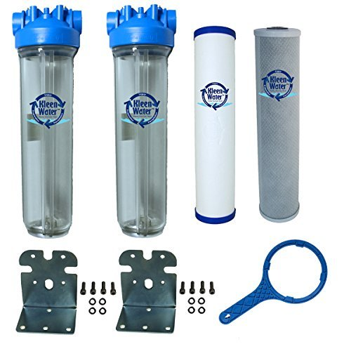 KleenWater Whole House Filter System, Chlorine Sediment Sulfur Filtration, Dual Stage, 4.5 x 20 Inch by KleenWater