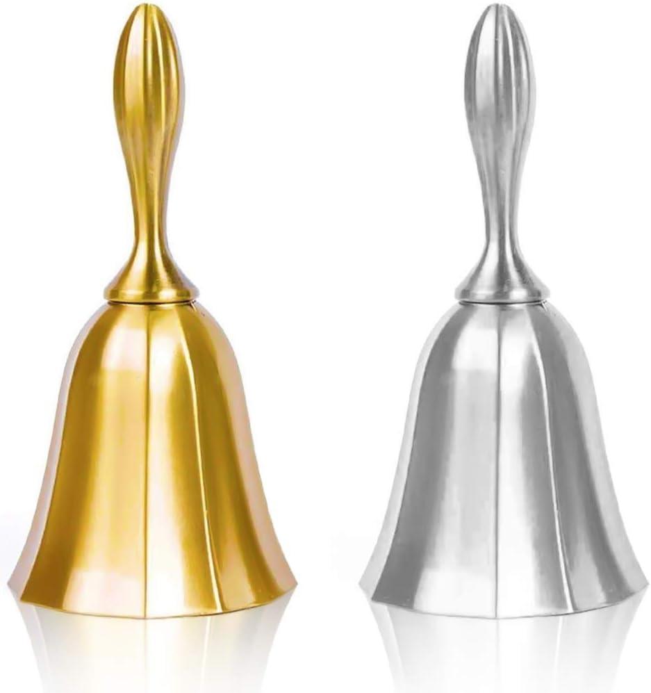 DomeStar Hand Bell, 2PCS Call Bell Wedding Bell Dinner Bell Golden and Pewter Classroom Bell for Kid