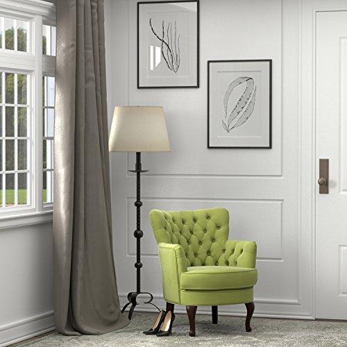 Unique Portfolio Priscilla Petite Spring Green Velvet Arm Chair in Green
