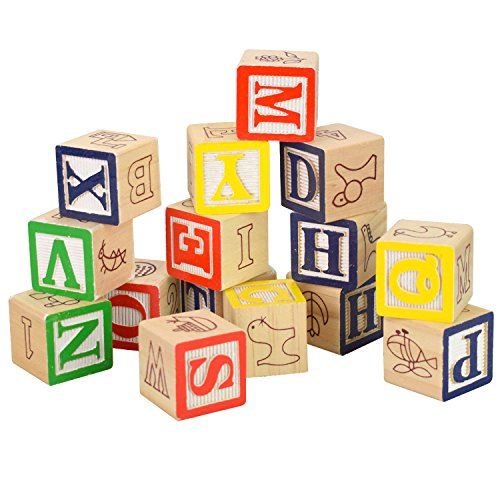 """Baztoy Wooden Building Blocks Toy - Wood Alphabets Bricks Early Education Numbers, Animal, Fruit Learning Toys in Six Sides Shown- Baby Brain Tester Toy Set Random Alphabet 15Pcs (1.2"""")"""