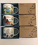 3 Mug Set: Magic Kingdom +Animal Kingdom+ Epcot V2 14 Oz. You Are Here Starbucks Mugs W/ Bonus Blank Starbucks Card