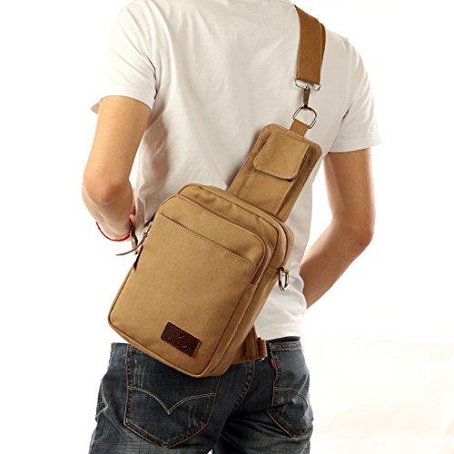 Bolsas de tela de doble uso/Bolso de pecho al aire libre de los hombres/Bolsos de hombro paquete diagonal-marrón 1 caqui