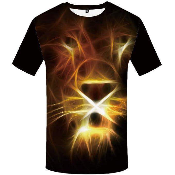 c102772e6193 KYKU Lion Shirt Men Graphic Funny T Shirts Animal Print Tshirt 3D Funny T- Shirts