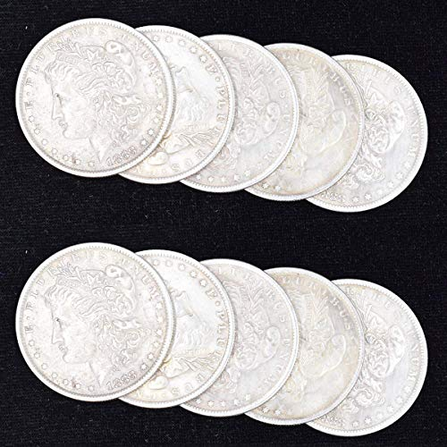 WSNMING 10 Pcs Steel Morgan Dollar ( 3.8cm Dia) Magic Tricks Can Be Sucked Props Accessories Used Appearing/Disappearing Coin Magie Props