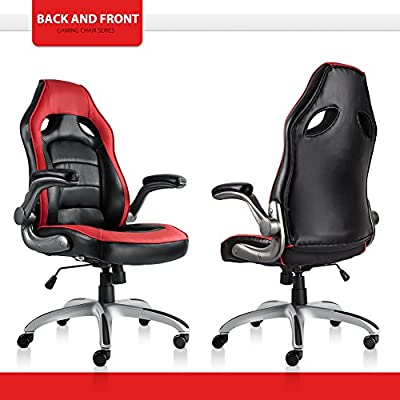NKV High Back Gaming Chair Racing Style Office Chair Ergonomic Computer Video Game Chair Heavy Duty PC Adjustable Swivel Desk Chair Bonded Leather by NKV