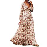 3a4fd78e81a4 6 · Sunward 2017 Women Sexy Deep V Fashion Printed Maxi Dress Long Sleeve  Flower