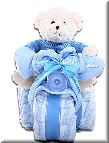 Alder Creek Tricycle Diaper Cake-Boy In Blue. It's the Perfect Alternative to A Gift Basket For A Baby Shower -