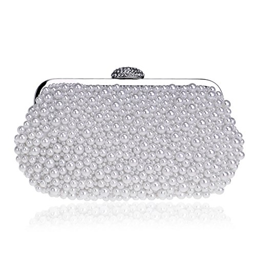 Beaded Pure Crystal White Evening Women's Package Bag Bag Banquet Pearl Dinner wqBxfOwY