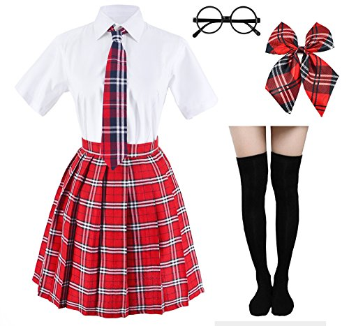 Japanese Tartan Pleated School Uniform Cosplay Costumes with Socks Eyeglass Frame Set (Red)(S = Asia M)(SSF09)