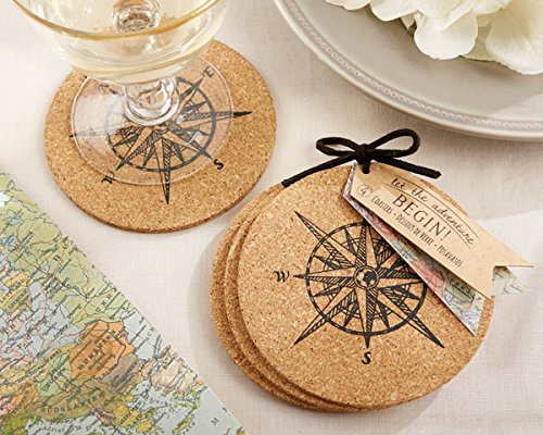 120 SETS of 4 ''Let the Journey Begin'' Cork Coasters