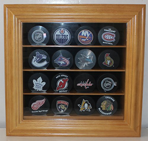 16 Hockey Puck/Baseball Display Case Holder Shadow Box, Wall Mountable, UV Protection, (Oak Finish)