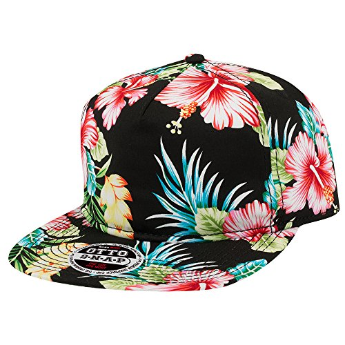 Hawaiian Print 5 Panel Cotton Twill Flat Bill Adjustable Snapback Cap - (Print Spandex Cap)