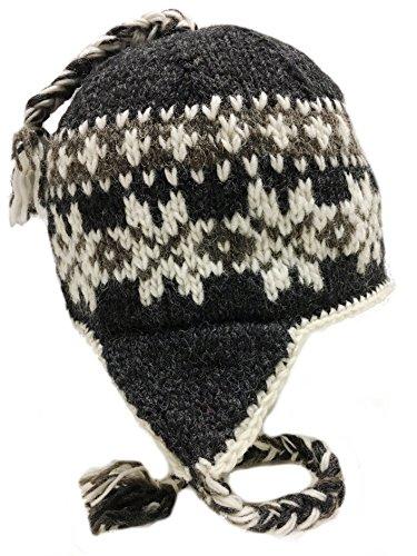Nepal Hand Knit Sherpa Hat Ear Flaps, Trapper Ski Heavy Wool Fleeced Lined (Grey & - Everest Hat Flap