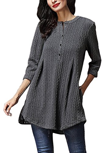AlvaQ Fall Long Sleeve Plus Size Clothing Pockets Knitted Sweater For Women Work Long Tunic Tops Casual Pullover