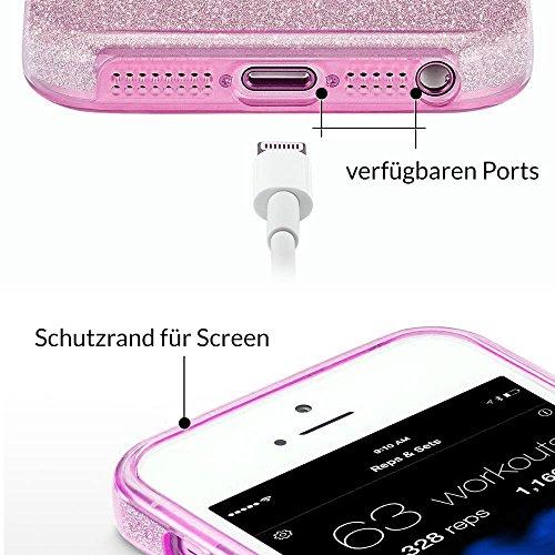 EGO ® Glitter Case + Tempered Glass iPhone 6 6S, Panthere Argent Etui Protection du telephone Paillette Flash Sillicone Diamant Elegant de luxe Souple