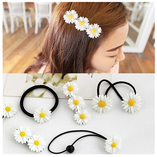 Lovef 18 Pcs All-match Boutique Pastoral Little Daisy Flower Hair Accessories Hair Clips Bobby Pins Barrettes Elastic Hair rope Band Ties headdress hair beauty tool