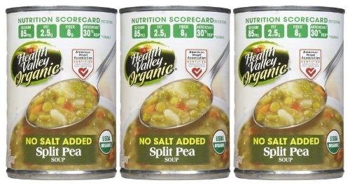 Health Valley Organic Split Pea Soup, No Salt, 15 oz, 3 pk