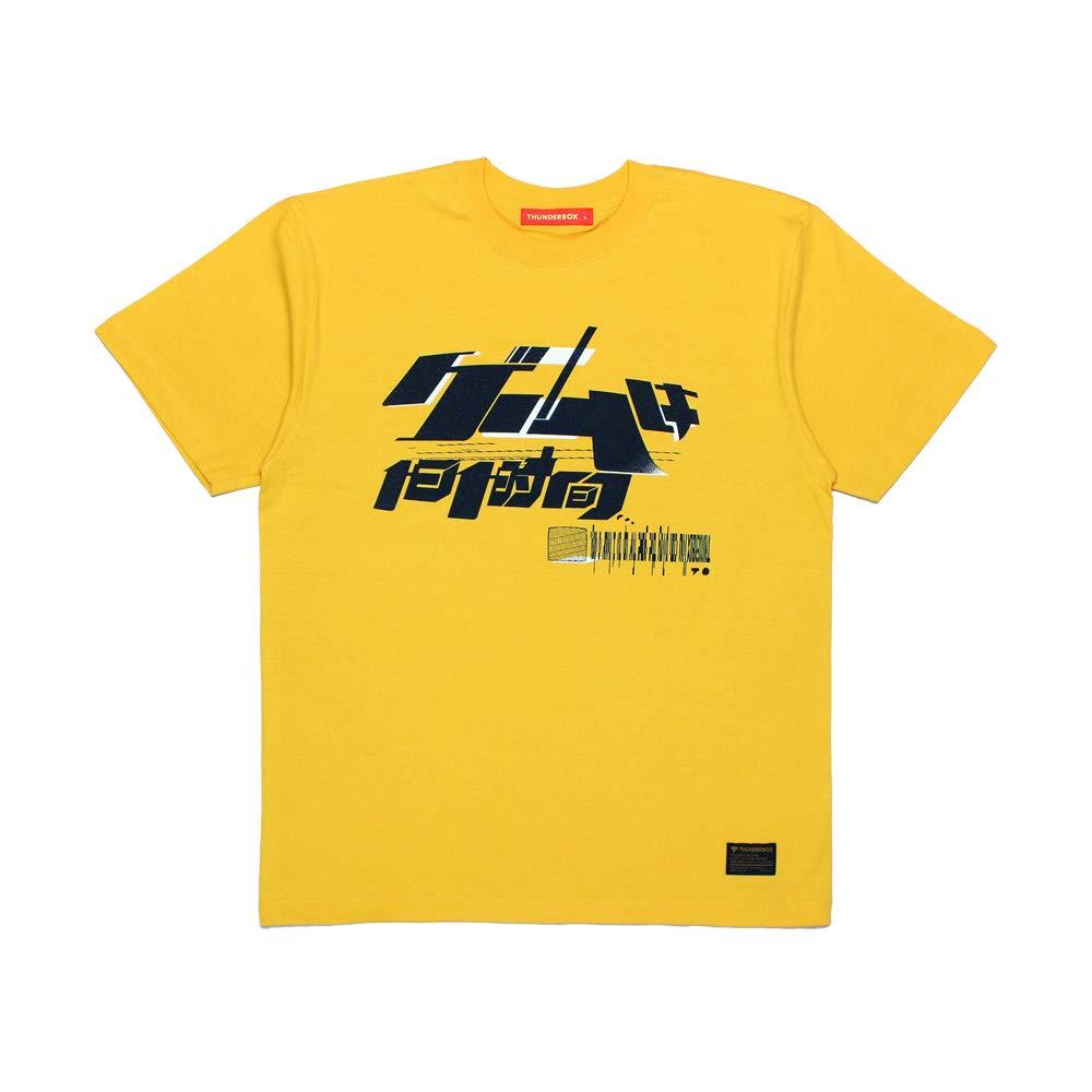 THUNDERBOX + TAKAHASHI MEIJIN ゲームは1日1時間 TEE | YELLOW サンダーボックス 高橋名人 コラボ Tシャツ 半袖 ロゴ プリント メンズ イエロー (L)