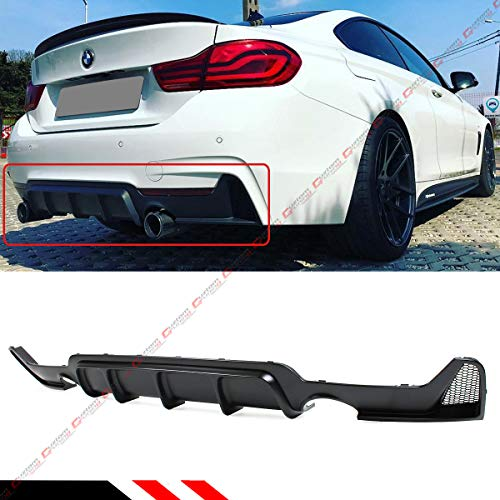 Fits for 2014-2019 BMW F32 F33 F36 4 Series Performance Style M Sport Rear Bumper Diffuser Dual Exhaust Tip Opening (Best Exhaust For Bmw 435i)