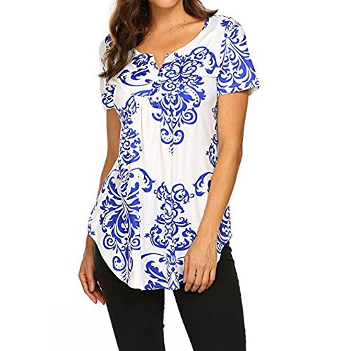 【MOHOLL】 Women's Paisley Printed Long Sleeve Henley V Neck Pleated Casual Flare Tunic Blouse Shirt Blue