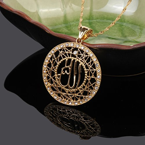 710236a48c9 Buy BR Gold Jewelry BR Gold Jewelry 24k Gold Muslims Allah Pendant Necklace  Charm Arabic Islamic Rhinestone Jewelry Online at Low Prices in India |  Amazon ...