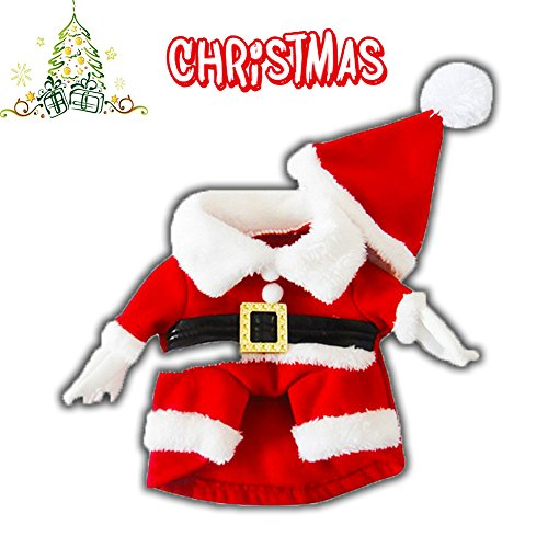 DELIFUR Pet Christmas Costumes with Hat Dog Santa Costume Dog Xmas Costume for Small Dog Cat Puppy (Pussycat Christmas Costumes)