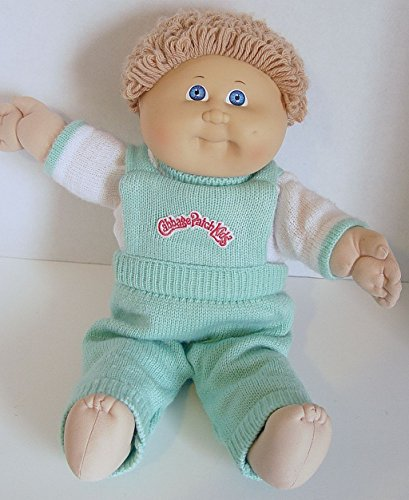 Vintage Cabbage Patch Kid Doll 1982 Honey Blonde Boy Blue Eyes CPK Green Sweater Overalls
