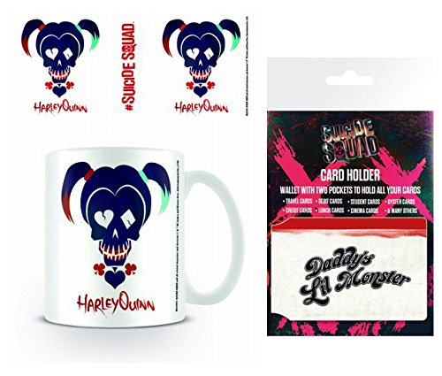 Set: Suicide Squad, Harley Quinn Skull Photo Coffee Mug (4x3 inches) and 1 Suicide Squad, Credit Card Holder Wallet for Fans Collectible (4x3 inches)