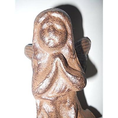 Cast Iron Standing Fairy Garden Statue Angel Cherub Pixie Wings Paper Weight: Sports & Outdoors