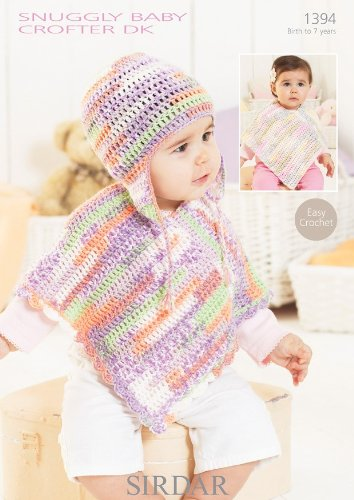 Sirdar Snuggly Baby Crofter Dk Ponchos And Helmet Hat Crochet