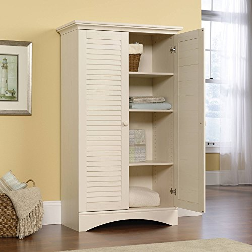 Two Louver-Detailed Door Cabinet with 4 Adjustable Shelves, Sturdy and Durable Wood Construction, Hidden Storage and Solid Knobs, Convenient Size Full Upper Shelf, Multiple Color Options