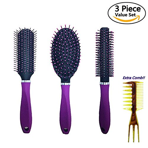 3 Pc Value Set Hair Brush , Detangling Brush Professional No Pain Detangler, Straightening, Styling & Drying for Women,Men,Kids,Purple, With a Bonus comb (Hair Brush Sets)