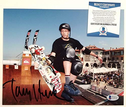 (TONY HAWK Signed 8x10 Photo Skateboard Legend Autograph ~ Beckett BAS COA - Beckett Authentication - Autographed Extreme Sports Photos)
