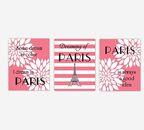 Coral Tower (Paris Wall Art Eiffel Tower Coral White Silhouette Flower Burst Dahlia Mums Dreams Hepburn Girl Bedroom Decor SET OF 3 UNFRAMED PRINTS)