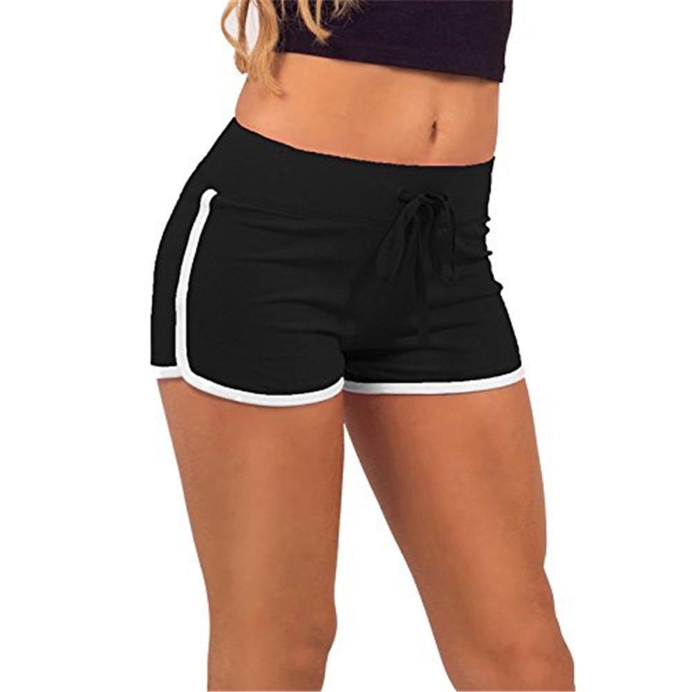 Pantaloncini corti estivi da donna sportivi per palestra allenamento e yoga nero Black White M Hippolo