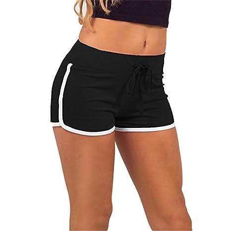 miglior sito web 69758 813f1 Hippolo - Pantaloncini corti estivi da donna sportivi per palestra,  allenamento e yoga nero Black White S