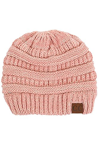 - Thick Slouchy Knit Unisex Beanie Cap Hat,One Size,Light Rose