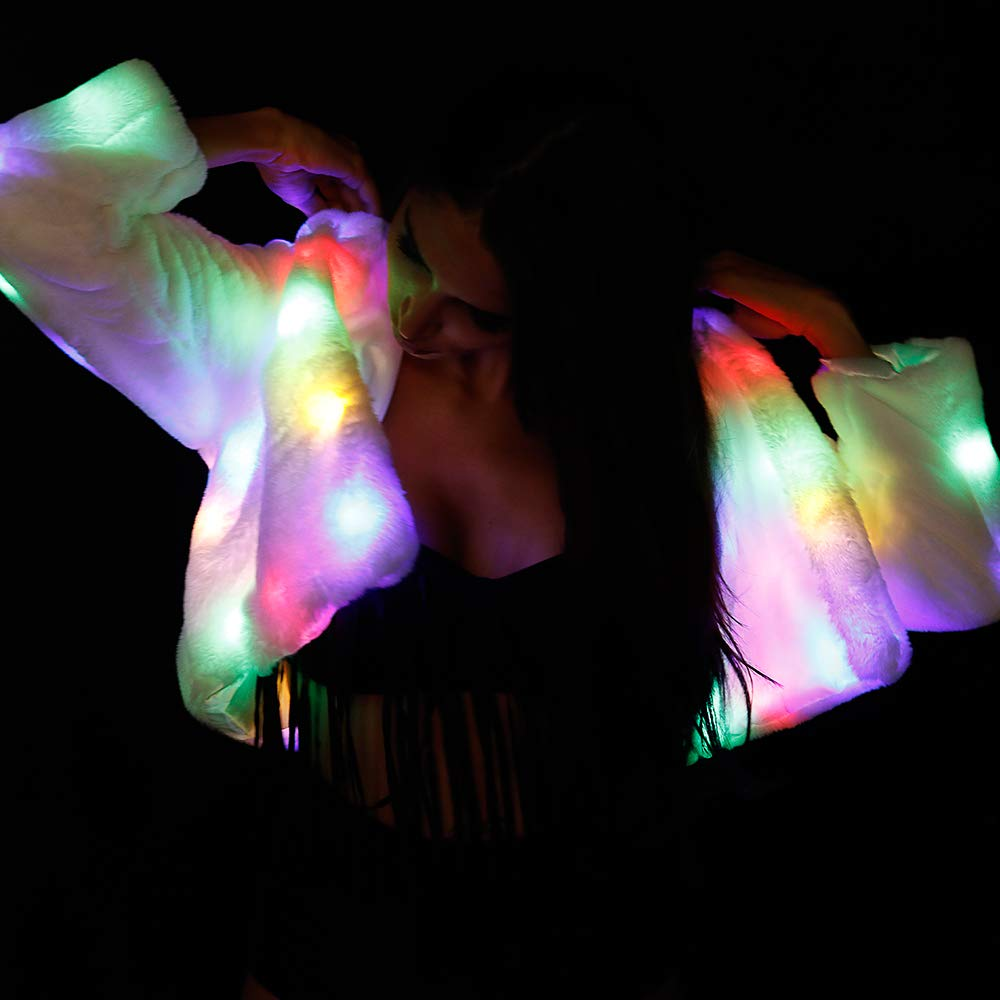 M MAYEVER Womens LED Jacket Girls Faux Fur Light Up Rave Outwear Stage Birthday Fancy Dress Costume LED001