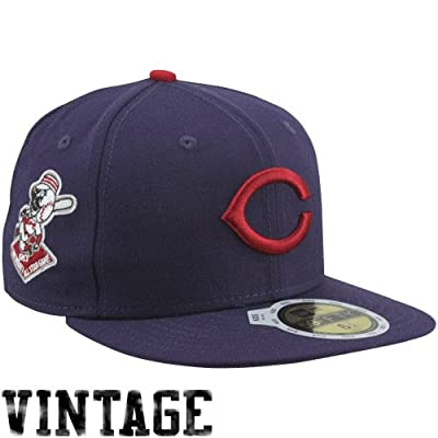 MLB New Era Cincinnati Reds 1953 Cooperstown All-Star Patch 59FIFTY Fitted Hat - Navy Blue (7)