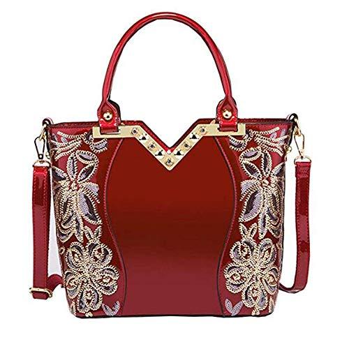 Dawnbright Women patent leather bag Top Handle bag Embroidery Handbag Satchel Shoulder Bag Design Tote Bag Purse