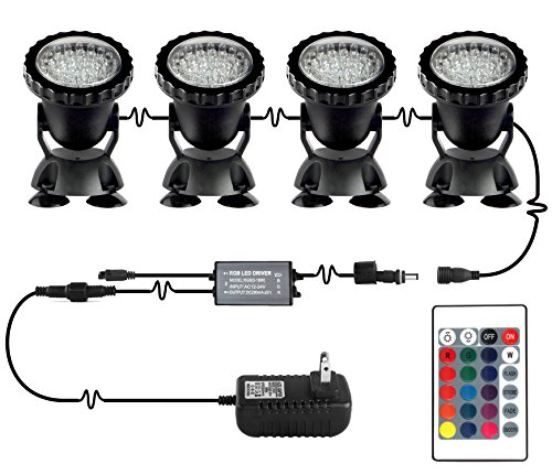 Pond Lights NEW UPGRADED Remote Control Submersible Lamp IP68 Totally Full Waterproof Underwater Aquarium Spotlight 36-LED Multi-color Decoration Landscape Lamp for Swimming Pool Fish (Set of (Accent Outdoor Spotlight)