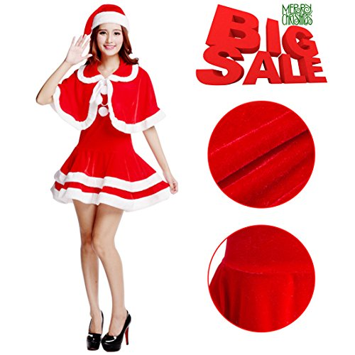 PrettyQueen Red Santa Claus Costume For Women Nightmare Before Christmas Dress Santa Claus Costume Adult, One Size (Santa Claus Costumes For Women)