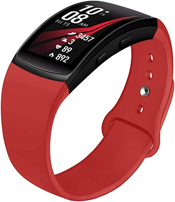 Compatible with Gear Fit 2 Band/Gear Fit 2 Pro Bands, NAHAI Soft Silicone Replacement Bands Wristband for Samsung Gear Fit 2 and Fit 2 Pro Smartwatch, Large, Red